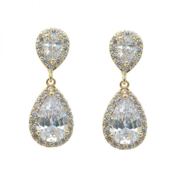 gold tear drop earrings - CHBAE0077