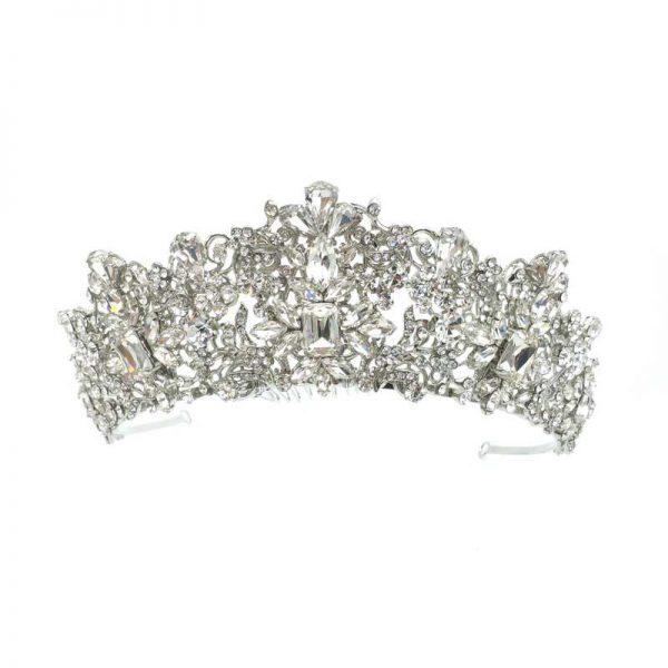 silver Bridal Tiara Crown - Taylor