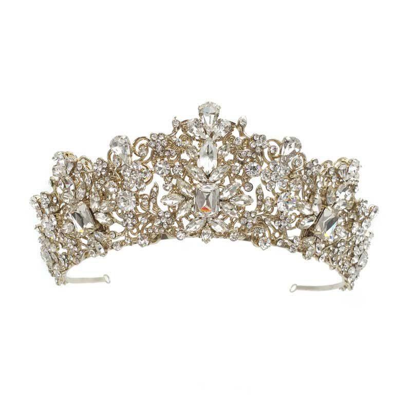 gold crystal bridal crown