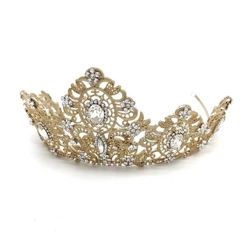 intricate gold bridal crown