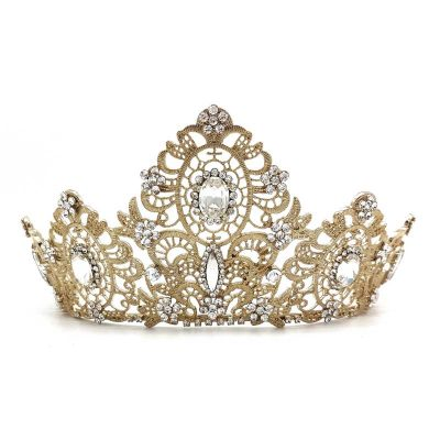 statement gold bridal crown