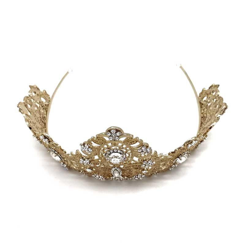 gold intricate statement bridal crown