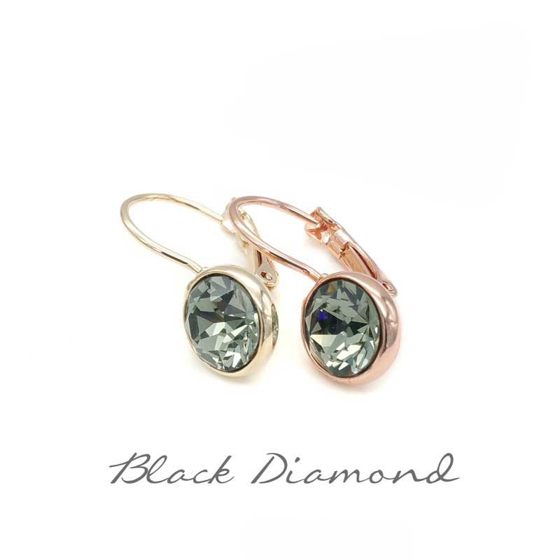 black diamond swarovski crystal drop earrings