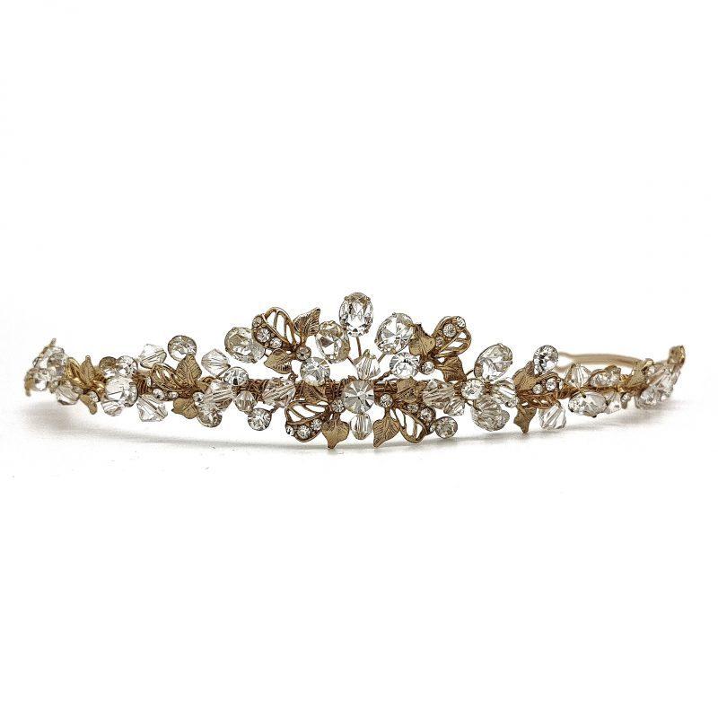 Gold Leaf, Crystal and Diamante Bridal Tiara