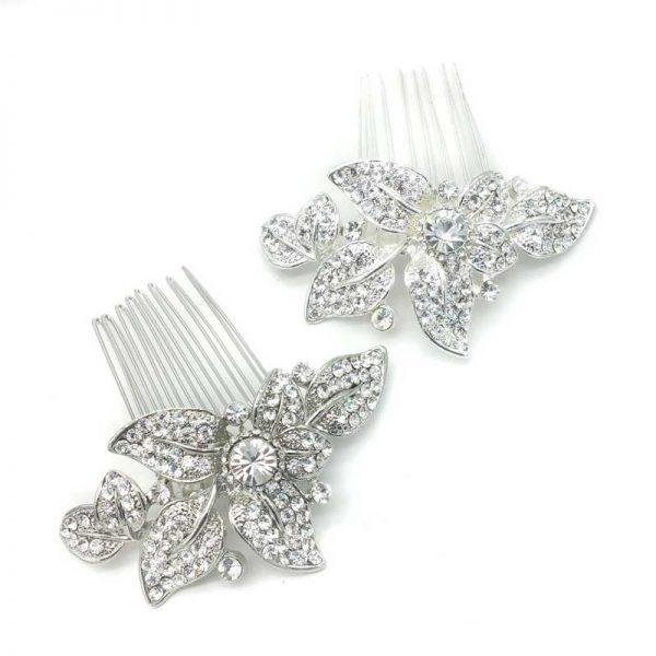 silver and rhodium bridal hair comb - Clara