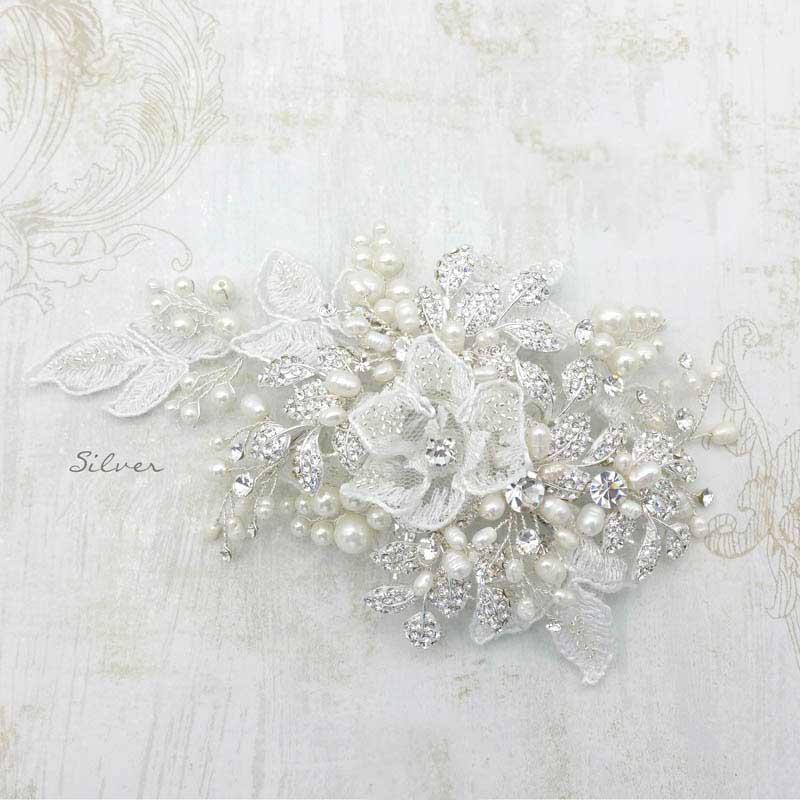 Silver lace bridal hair comb - Miranda