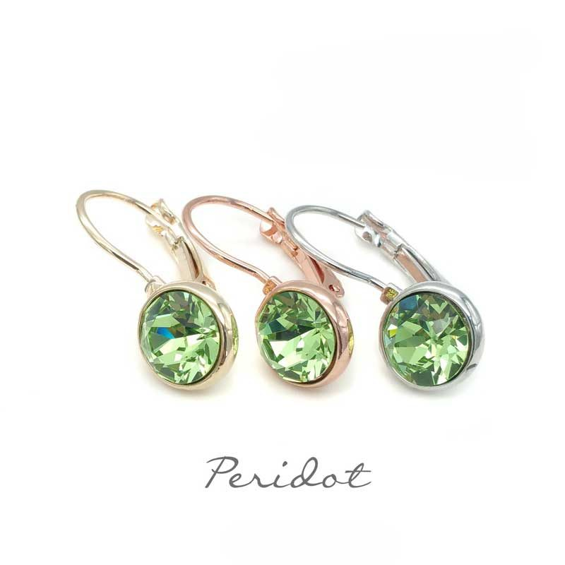 peridot green drop earrings