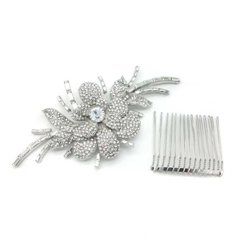 Cary BRidal Hair Comb in rhodium silver