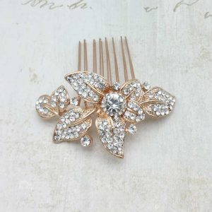 rose gold bridal hair comb - Clara