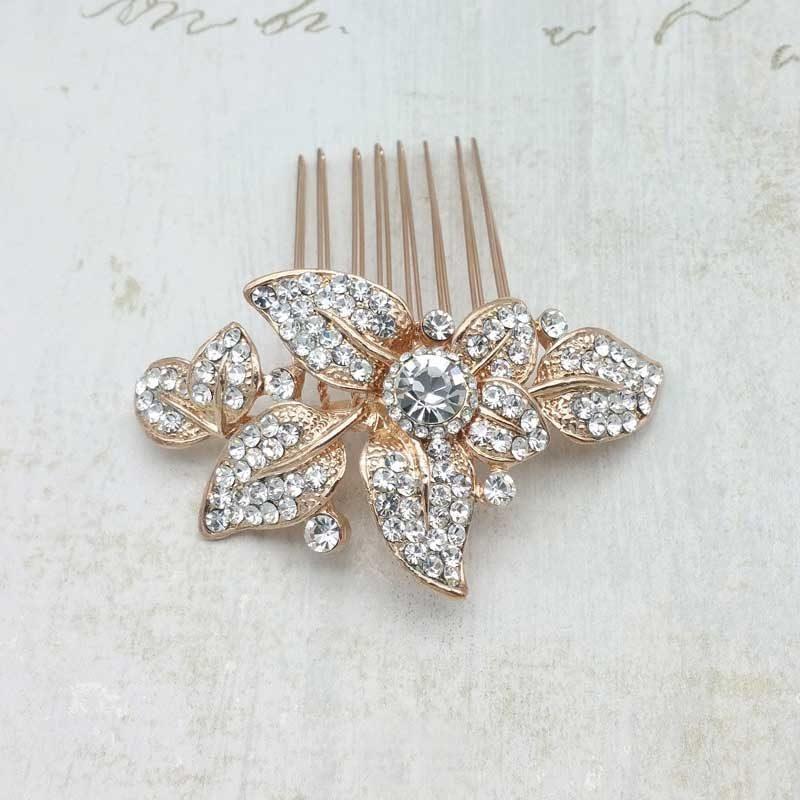 rose gold bridal hair comb - Clara