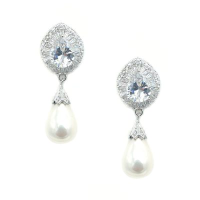 Silver Pearl Drop Earrings - Anastasia