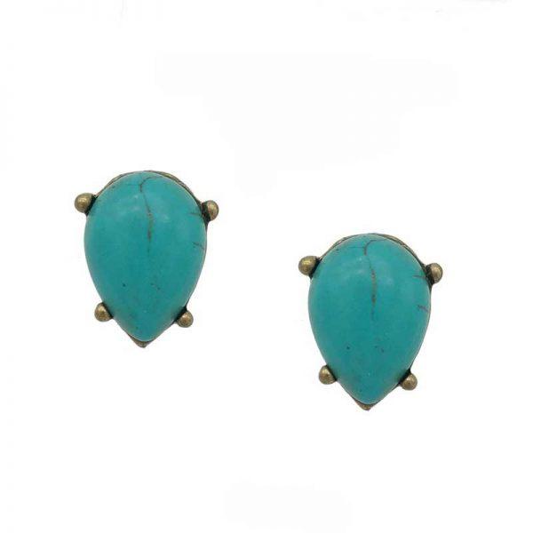turquoise tear drop studs