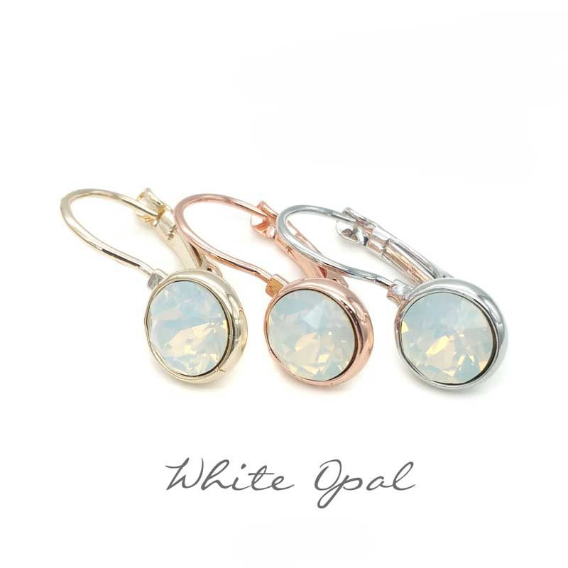 white opal crystal drop earrings