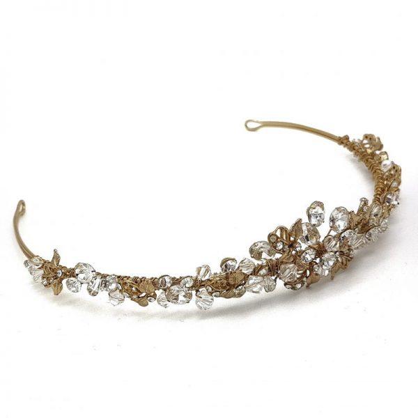 Gold Leaf and Crystal Bridal Tiara