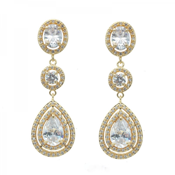 Gold Long Drop Earrings - Anita