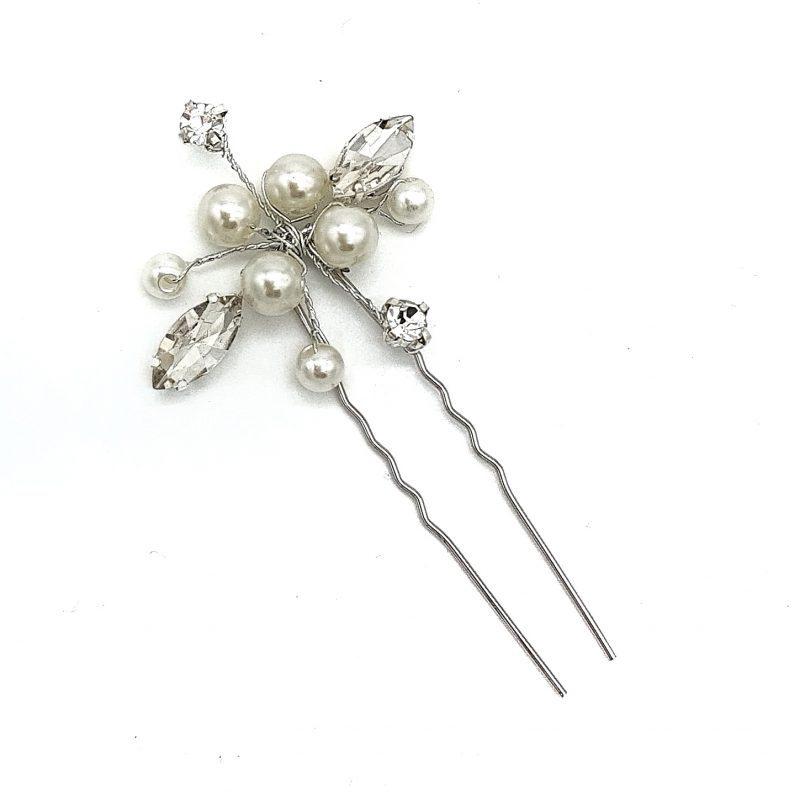 'Angela' Pearl and Crystal Hair Pins (Set of 2)