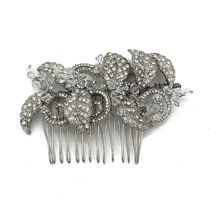 silver leaf crystal bridal comb