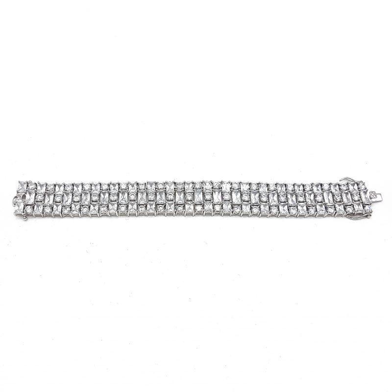 Silver Cubic Zirconia Cuff Bridal Bracelet