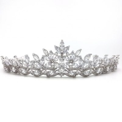 Wedding cubic zirconia tiara in rhodium silver