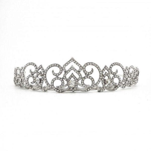 Silver Art Deco Cubic Zirconia bridal crown