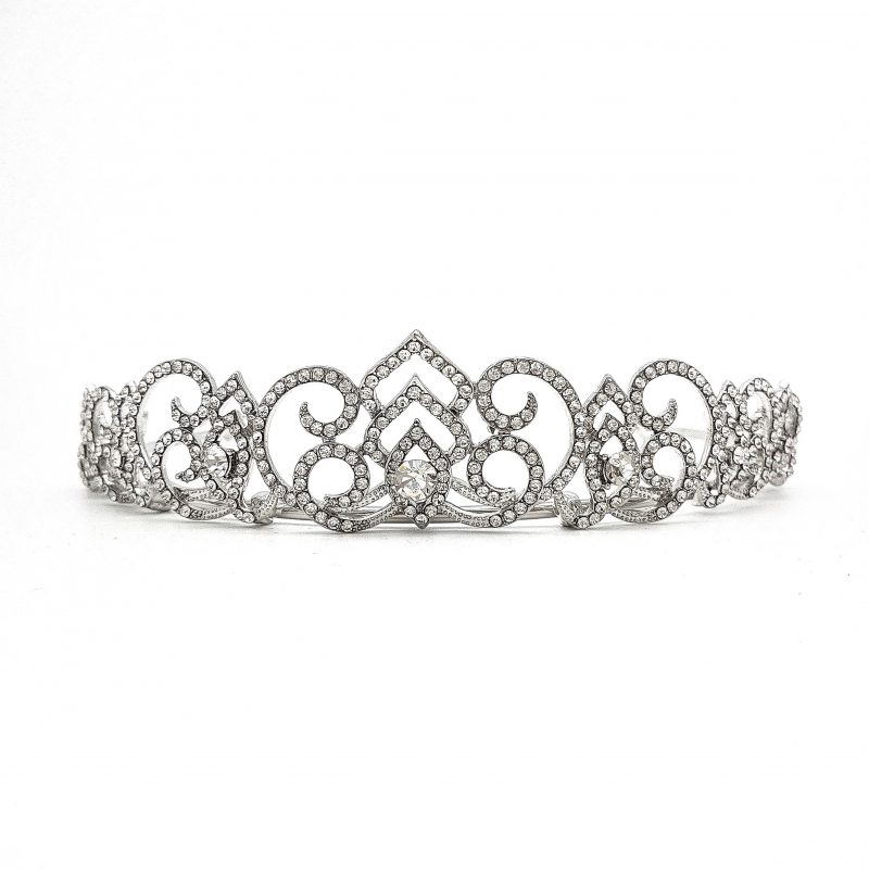 Silver Art Deco Cubic Zirconia bridal crown