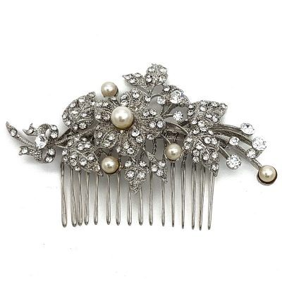 silver pearl and diamante hair comb