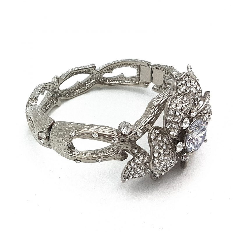 Silver Diamante Floral Bangle