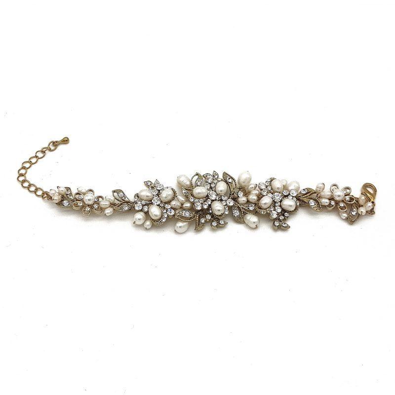 Gold Fresh Water Pearl Bridal Bracelet