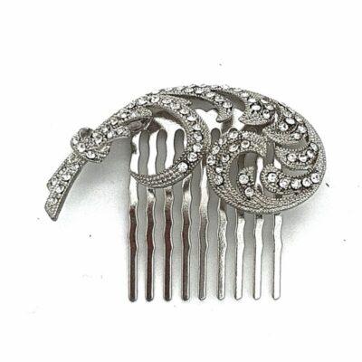 silver vintage bridal comb