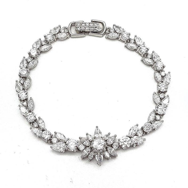 Silver Tennis Bridal Bracelet