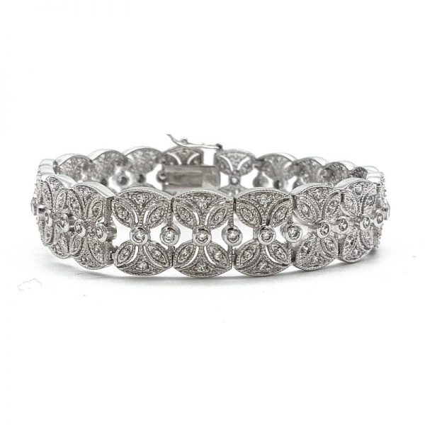 Silver Cuff Bridal Bracelet