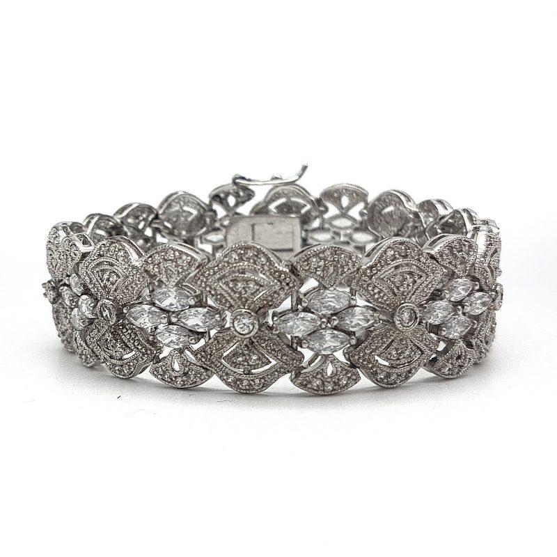 Wide Silver Bridal Cuff