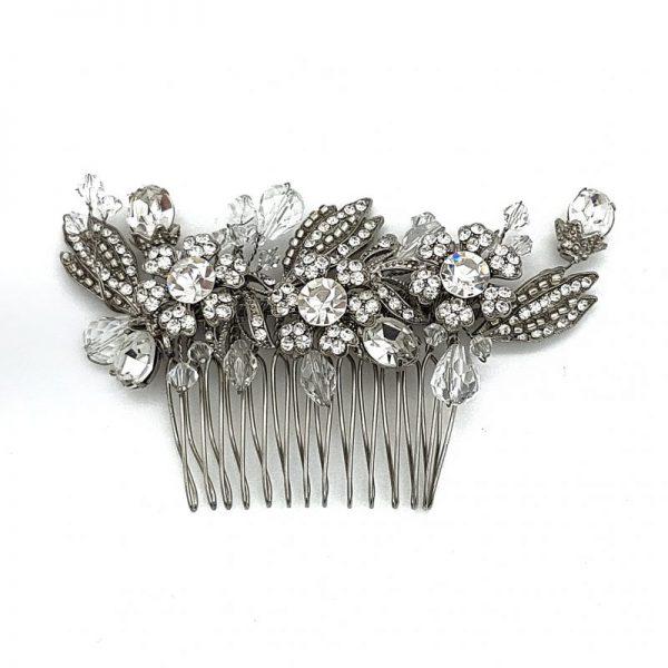 vintage crystal hair comb