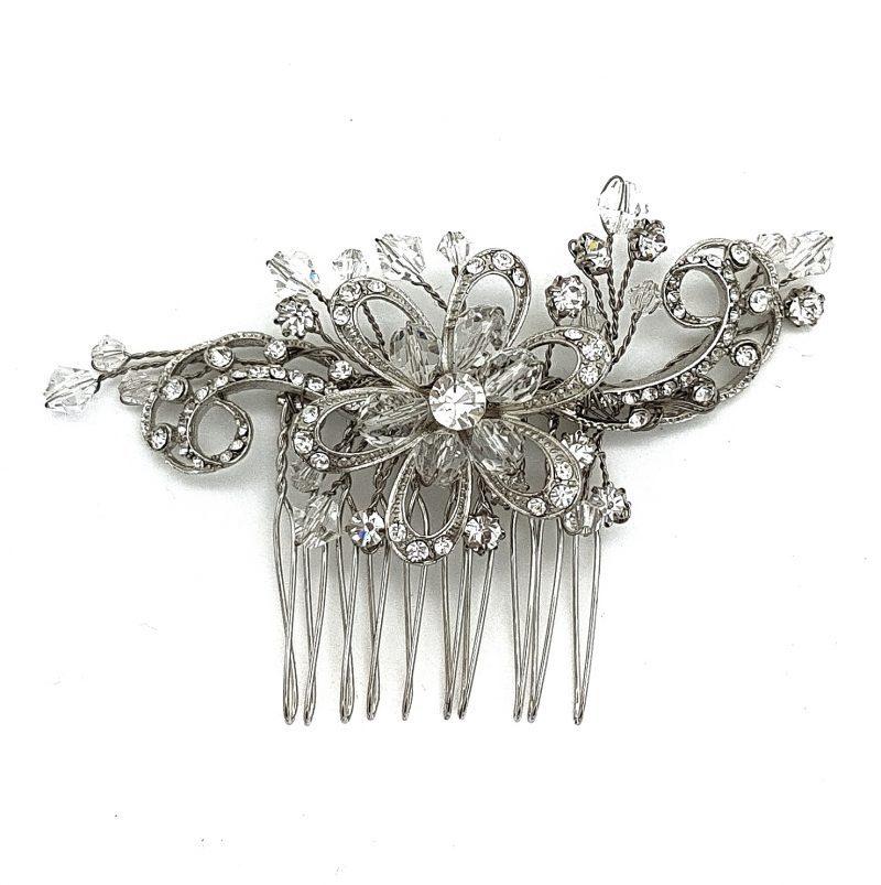 silver vintage bridal hair comb