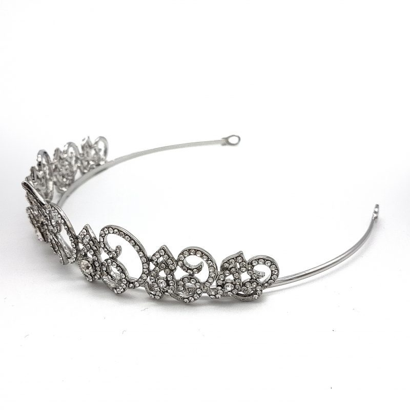 Art Deco silver cubic zirconia bridal crown