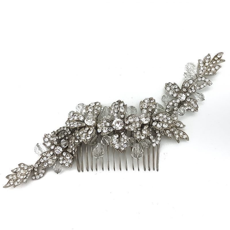large crystal floral hair comb