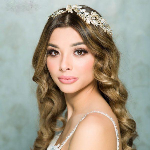 gold leaf and crystal bridal headband