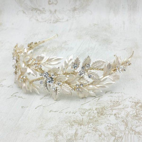 Gold leaf bridal headband