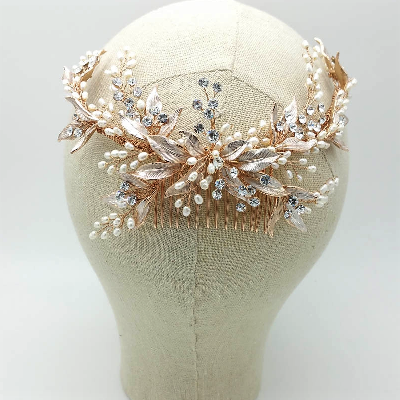 rose gold pearl and leaf bridal hair comb
