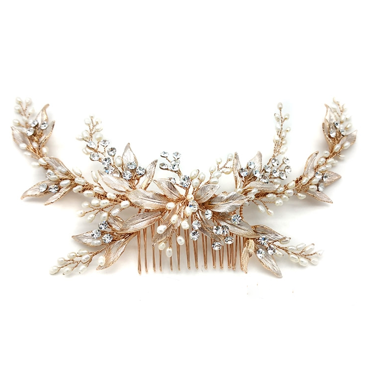 rose gold leaf and pearl hair comb