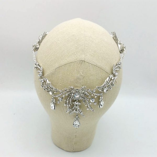 silver drop bridal headpiece