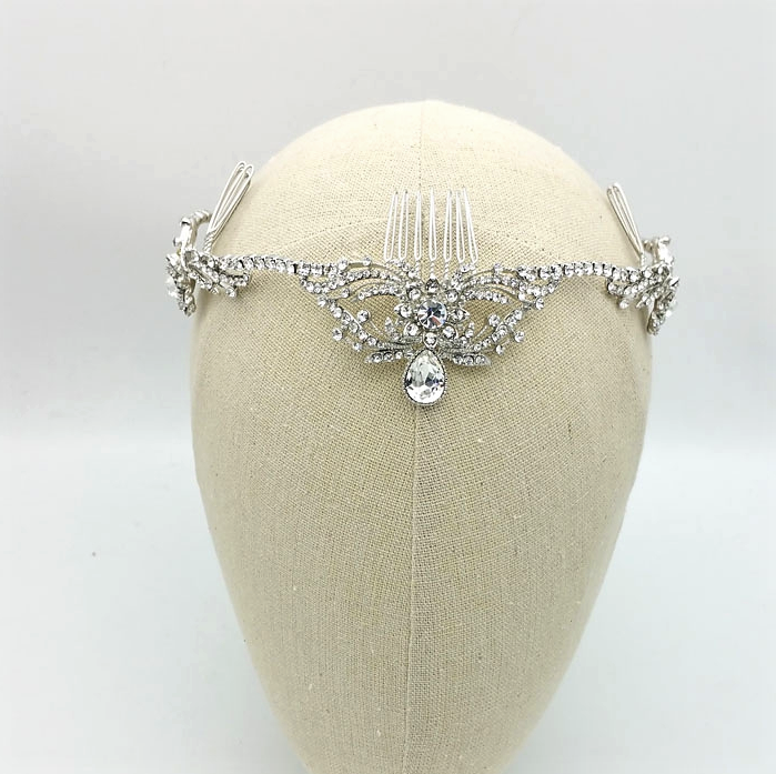 silver crystal statement crown
