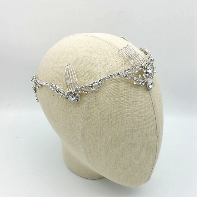 silver drop bridal crown