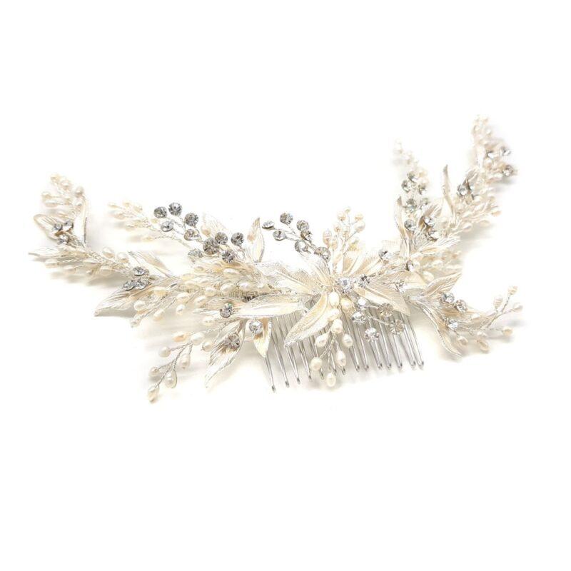 silver pearl bridal hair comb
