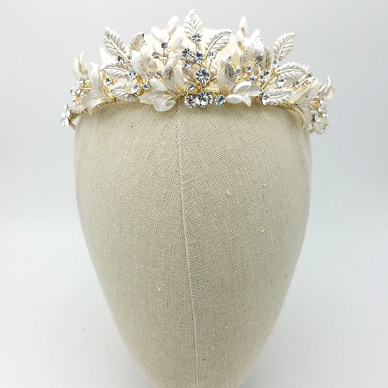 gold leaf and crystal tiara