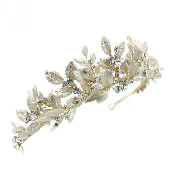 gold leaf and crystal tiara