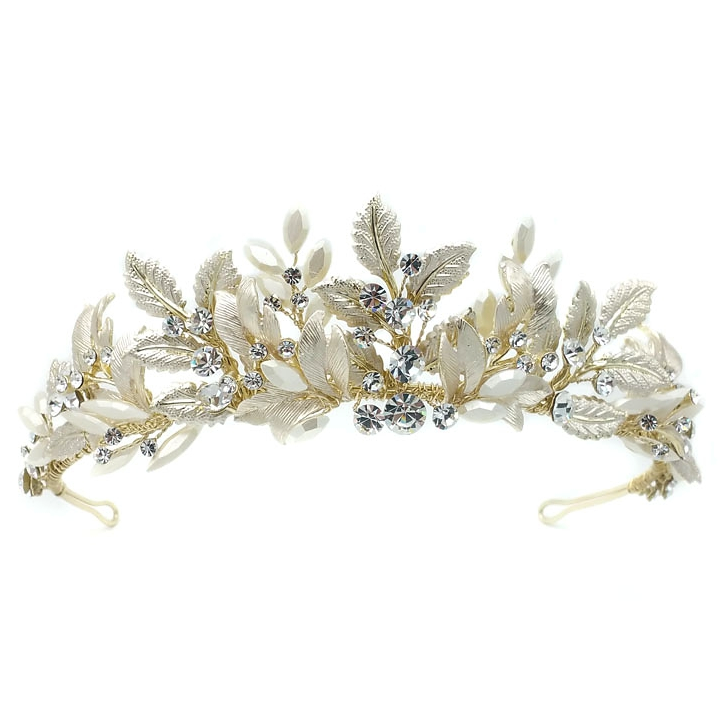 gold leaf and crystal bridal tiara