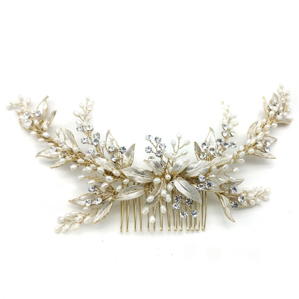gold leaf and pearl bridal comb