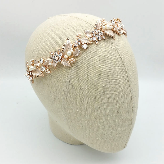 gold leaf bridal headband