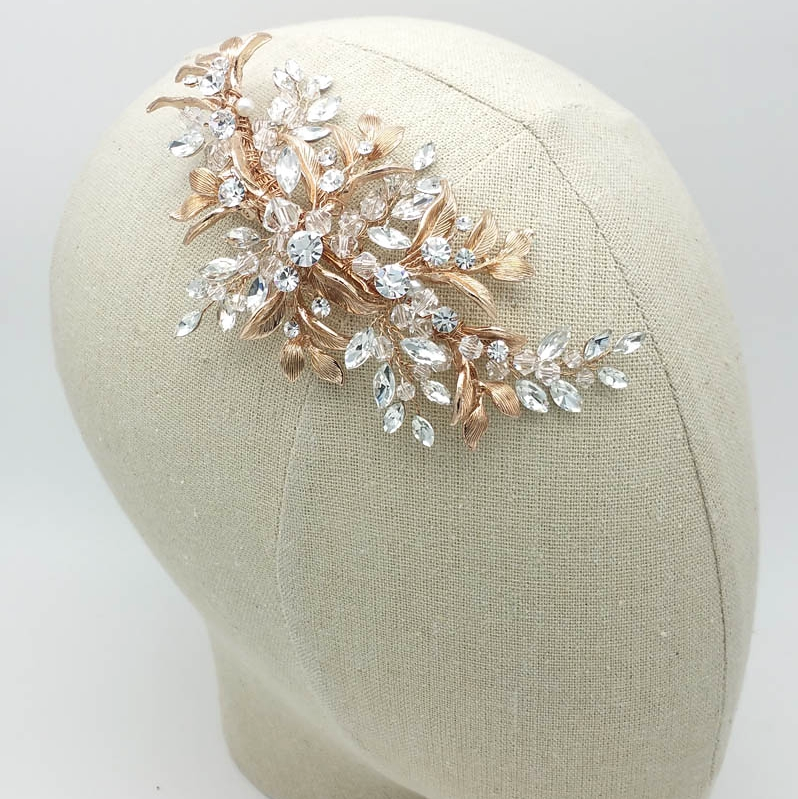 rose gold leaf and crystal hair comb